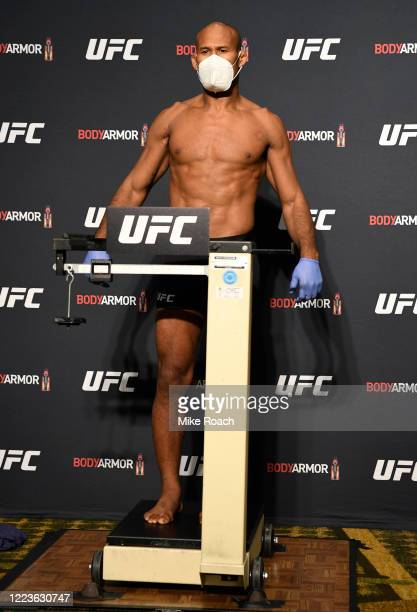 Ronaldo 'Jacare' Souza poses on the scale during the UFC 249 official weighin on May 08 2020 in Jacksonville Florida