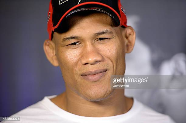 Ronaldo 'Jacare' Souza speaks to reporters during a media availability at the Foxwoods Resort Casino on September 3 2014 in Mashantucket Connecticut