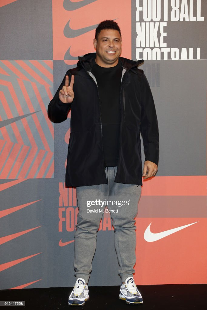 Ronaldo Luis Nazario de Lima attends in celebration of the 20th anniversary of Nike's most iconic football boot, some of the world's best footballers arrive in South London to debut its latest versions, the Mercurial Superfly and Vapor 360 at The Printworks on February 7, 2018 in London, England.