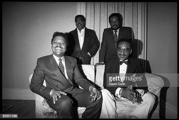 Ronaldo 'Obie' Benson Lawrence Payton Levi Stubbs and Abdul 'Duke' Fakir of the Four Tops pose for a photo at the Limelight club on June 13 1985 in...
