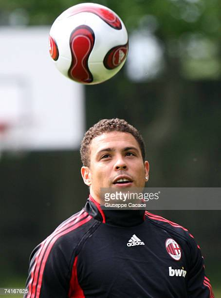 Ronaldo of AC Milan eyes the ball during a training session ahead of next week's UEFA Champions League Final against Liverpool during the AC Milan...
