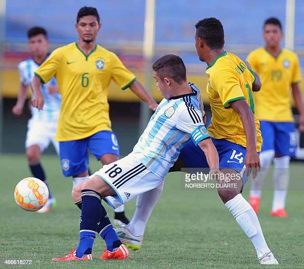 Ronaldo of Brazil and Tomas Conechny of Argentina vie for the ball during their U17 South American final round football match at Feliciano Caceres...