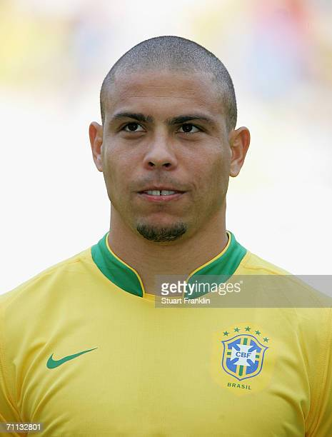 Ronaldo of Brazil before the international friendly match between Brazil and New Zealand at the Stadium de Geneva on June 4, 2006 in Geneva,...