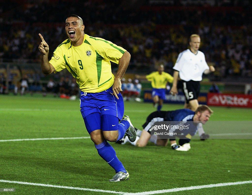 Ronaldo of Brazil celebrates after scoring opening goal during the Germany v Brazil, World Cup Final match played at the International Stadium Yokohama in Yokohama, Japan on June 30, 2002. Brazil won 2-0.