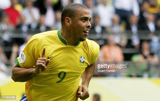 Ronaldo of Brazil celebrates after scoring the opening goal during the FIFA World Cup Germany 2006 Round of 16 match between Brazil and Ghana at the...