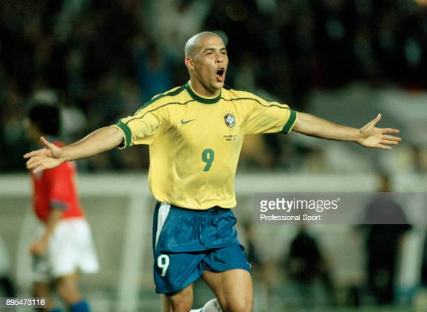 Ronaldo of Brazil celebrates during the 1998 FIFA World Cup Quarter Final between Brazil and Chile at Parc des Princes on June 27 1998 in Paris France