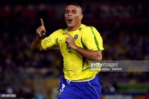 Ronaldo of Brazil celebrates scoring the first goal