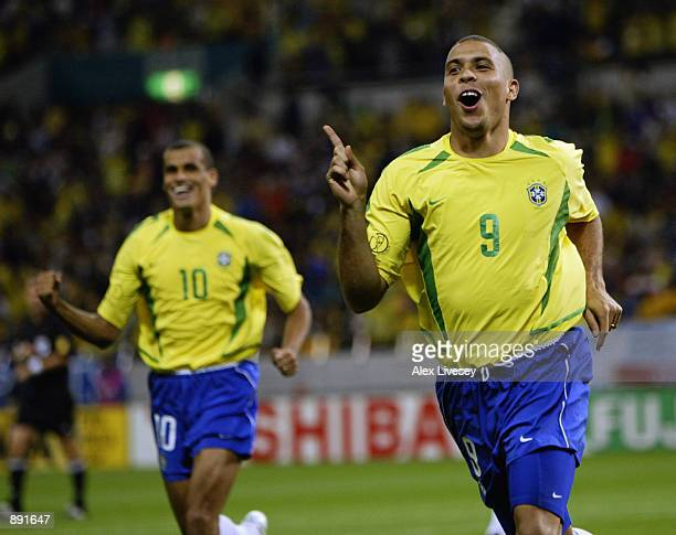 Ronaldo of Brazil celebrates scoring the winning goal during the FIFA World Cup Finals 2002 SemiFinal match between Brazil and Turkey played at the...