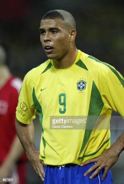 Ronaldo of Brazil during the Brazil v Turkey, World Cup Semifinal Stage match played at the Saitama Stadium, Saitama in Japan on June 26, 2002....