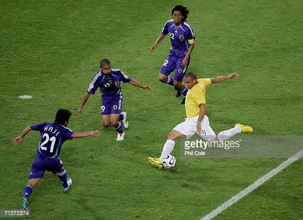 Ronaldo of Brazil has a shot on goal during the FIFA World Cup Germany 2006 Group F match between Japan and Brazil at the Stadium Dortmund on June...
