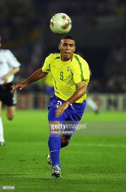 Ronaldo of Brazil in action during the World Cup Final match against Germany played at the International Stadium Yokohama, Yokohama, Japan on June...