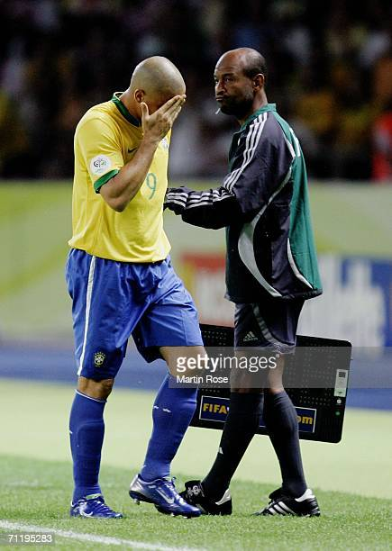 Ronaldo of Brazil is substituted during the FIFA World Cup Germany 2006 Group F match between Brazil and Croatia played at the Olympic Stadium on...