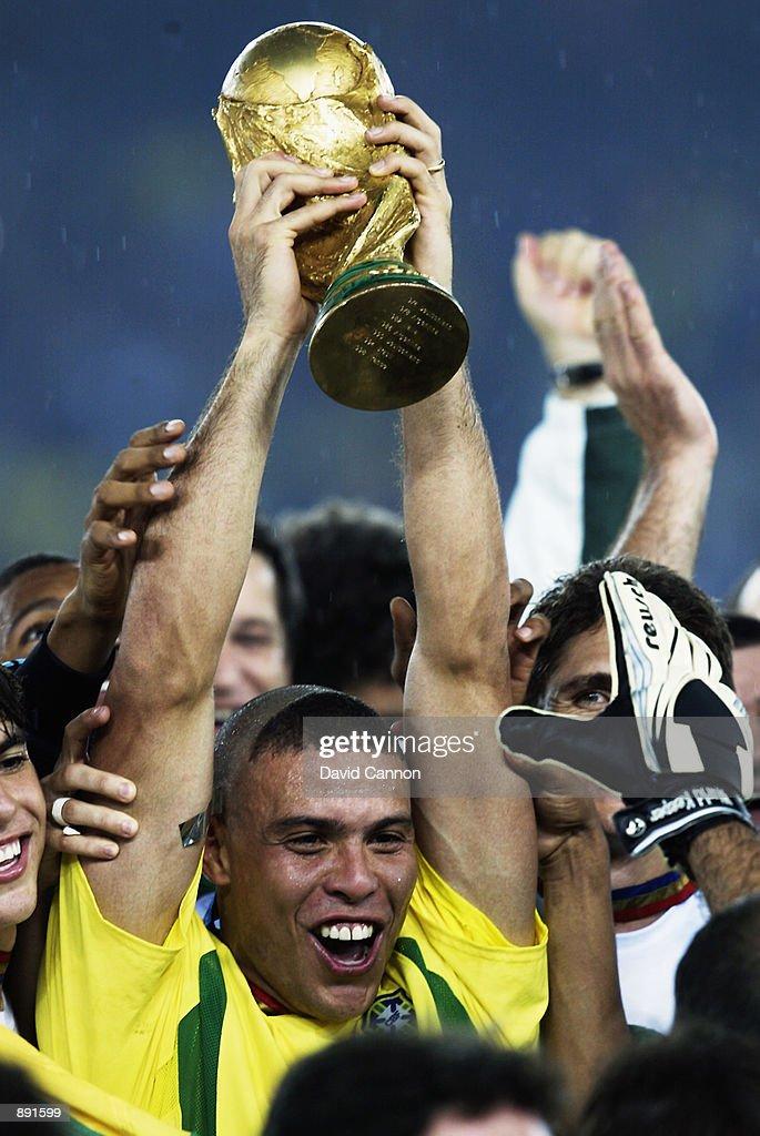 Ronaldo of Brazil lifts the trophy after the Germany v Brazil, World Cup Final match played at the International Stadium Yokohama in Yokohama, Japan on June 30, 2002. Brazil won 2-0.