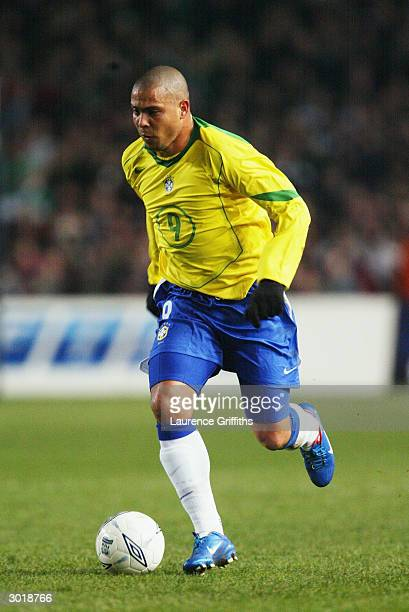 Ronaldo of Brazil runs with the ball during the International Friendly match between Republic of Ireland and Brazil held on February 18, 2004 at...