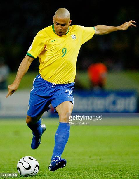 Ronaldo of Brazil shoots at goal during the FIFA World Cup Germany 2006 Group F match between Brazil and Croatia played at the Olympic Stadium on...