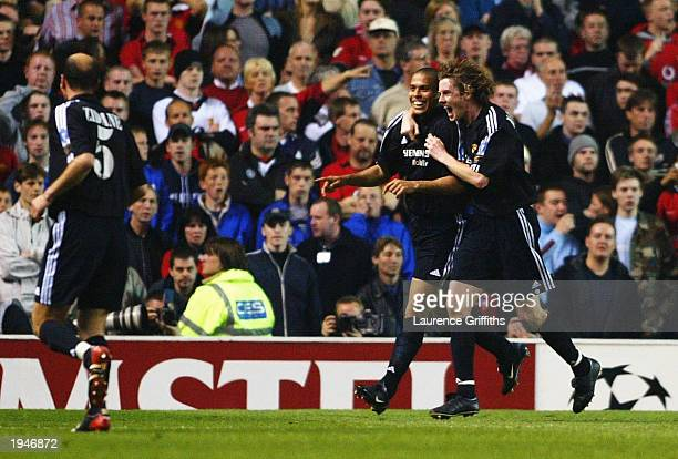 Ronaldo of Madrid celebrates with Steve McManaman after scoring the third goal during the UEFA Champions League quarter final second leg match...