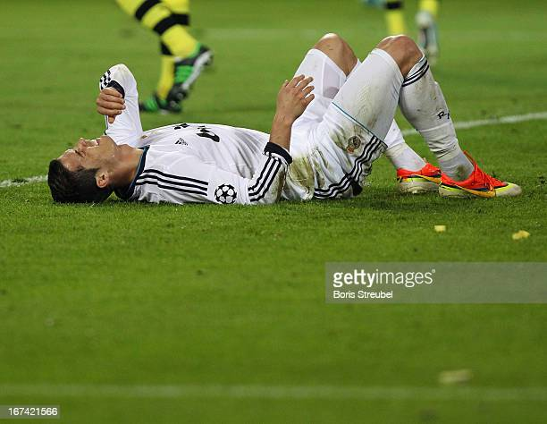 Ronaldo of Madrid lies on the pitch during the UEFA Champions League semi final first leg match between Borussia Dortmund and Real Madrid at Signal...