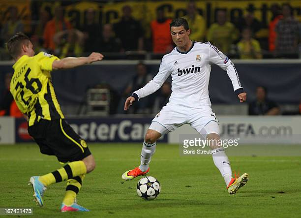 Ronaldo of Madrid scores his team's first goal during the UEFA Champions League semi final first leg match between Borussia Dortmund and Real Madrid...
