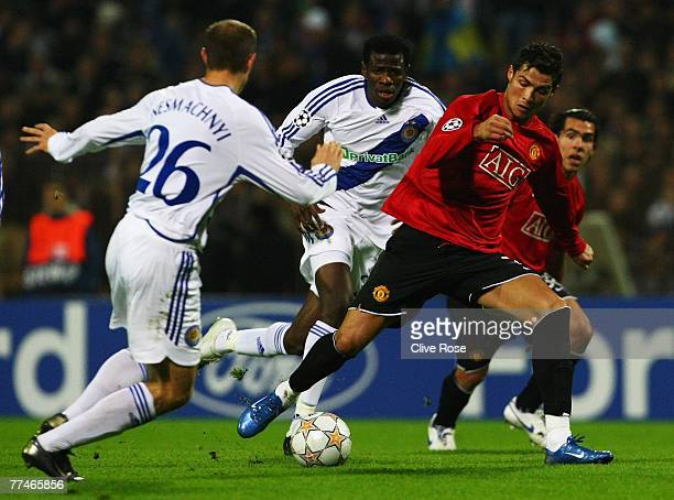 Ronaldo of Manchester United in action during the Champions League Group F match between Dynamo Kiev and Manchester United at the Olympiyskiy Stadium...