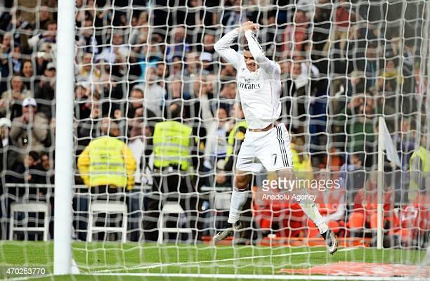 Ronaldo of Real Madrid celebrate his score during the La Liga match between Real Madrid and Malaga at Estadio Santiago Bernabeu in Madrid Spain on...