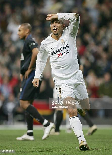 Ronaldo of Real Madrid celebrates after scoring a goal against Real Sociedad during a Real Madrid v Real Sociedad Primera Liga match at the Bernabeu...