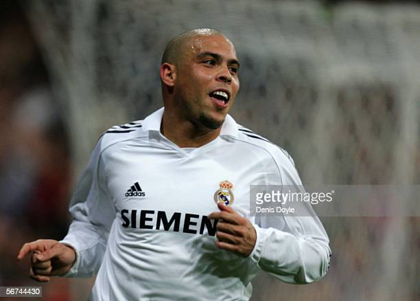 Ronaldo of Real Madrid celebrates his goal during the Primera Liga match between Real Madrid and Espanyol at the Santiago Bernabeu stadium on...