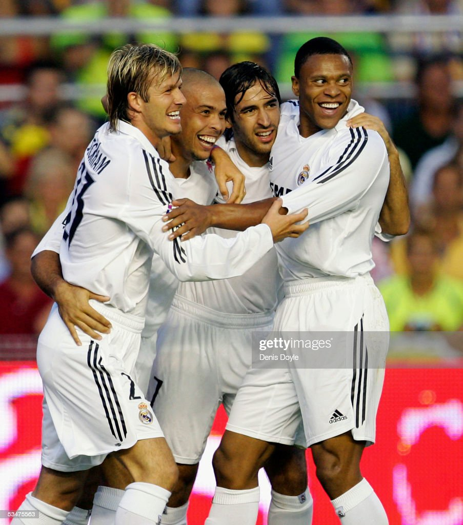 Ronaldo (2nd from left) of Real Madrid celebrates his goal with David Beckham (L) and Raul Gonzalez, Julio Baptista during a Primera Liga soccer match between Cadiz and Real Madrid on August 28, 2005 at the Ramon de Carranza stadium in Cadiz, Spain.