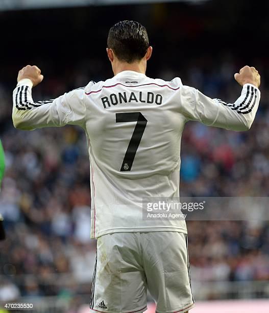 Ronaldo of Real Madrid celebrates his team's score during the La Liga match between Real Madrid and Malaga at Estadio Santiago Bernabeu in Madrid...
