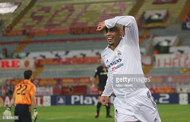 Ronaldo of Real Madrid celebrates opening the scoring in an empty stadium during the UEFA Champion's League group B match between AS Roma and Real...