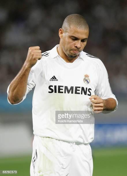 Ronaldo of Real Madrid celebrates scoring a goal during a friendly game between Real Madrid and Jubilo Iwata at Tokyo, Ajinomoto Stadium on July 27,...