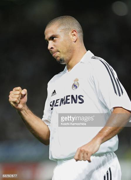 Ronaldo of Real Madrid celebrates scoring a goal during a friendly game between Real Madrid and Jubilo Iwata at Tokyo Ajinomoto Stadium on July 27...