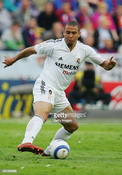 Ronaldo of Real Madrid in action during the Primera Liga match between Levante and Real Madrid at the Ciutat de Valencia stadium on April 17 2005 in...