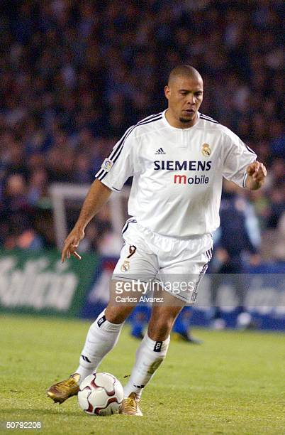 Ronaldo of Real Madrid in action during the Spanish Primera Liga match between Deportivo de La Coruna and Real Madrid at the Riazor Stadilum on May...