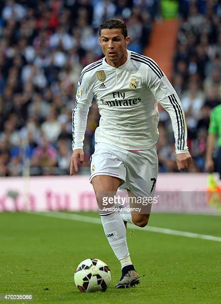Ronaldo of Real Madrid is in action during the La Liga match between Real Madrid and Malaga at Estadio Santiago Bernabeu in Madrid Spain on April 18...