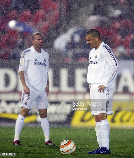 Ronaldo of Real Madrid reacts after Mallorca scored their second goal during a Primera Liga match at the Son Moix stadium on February 26 2006 in...