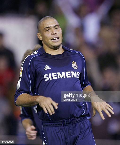 Ronaldo of Real Madrid reacts after missing a penalty kick during a Primera Liga match against Valencia at the Mestalla stadium on March 11 2006 in...