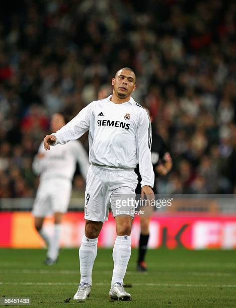 Ronaldo of Real Madrid reacts during a Primera Liga match between Real Madrid and Osasuna on December 18 2005 at the Santiago Bernabeu stadium in...