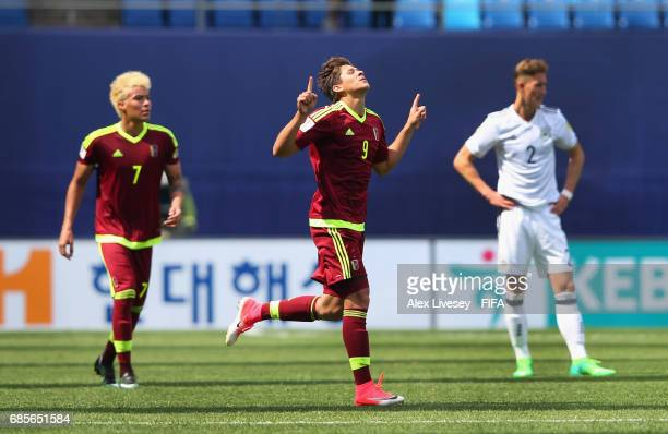Ronaldo Pena of Venezuela celebrates after scoring the opening goal during the FIFA U20 World Cup Korea Republic 2017 group B match between Venezuela...