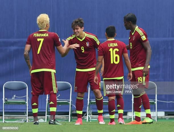 Ronaldo Pena of Venezuela celebrates after scoring the opening goal during the FIFA U20 World Cup Korea Republic 2017 group B match between Venezuela...