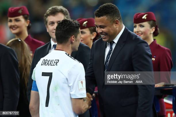 Ronaldo shakes hands with Julian Draxler of Germany at the end of the FIFA Confederations Cup Russia 2017 Final match between Chile and Germany at...