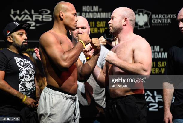 Ronaldo Souza of Brazil and Tim Boetsch face off during the UFC 208 weighin inside Kings Theater on February 10 2017 in Brooklyn New York
