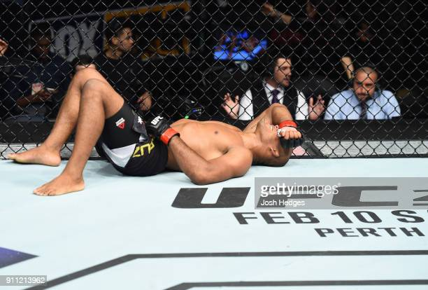 Ronaldo Souza of Brazil celebrates his victory over Derek Brunson in their middleweight bout during a UFC Fight Night event at Spectrum Center on...