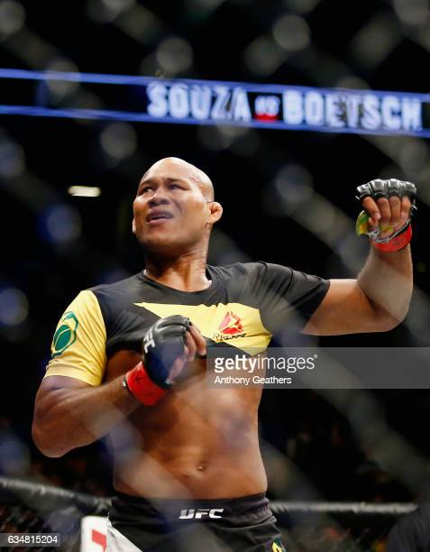 Ronaldo Souza of Brazil celebrates winning by submission in the first round against Tim Boetsch of United States in their middleweight bout during...