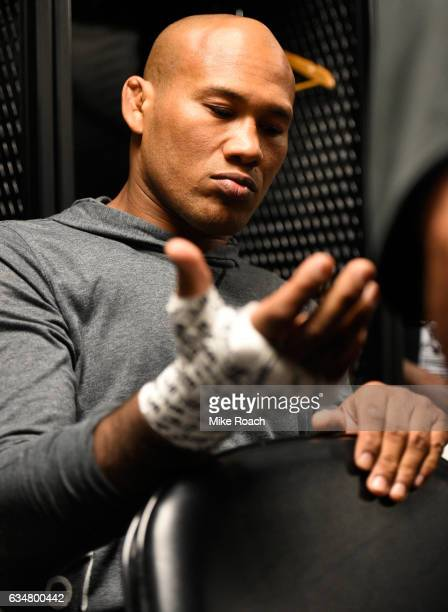 Ronaldo Souza of Brazil gets his hands wrapped backstage during the UFC 208 event inside Barclays Center on February 11 2017 in Brooklyn New York