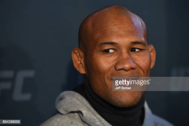 Ronaldo Souza of Brazil interacts with the media during the UFC 208 Ultimate Media Day at the Barclays Center on February 8 2017 in Brooklyn New York