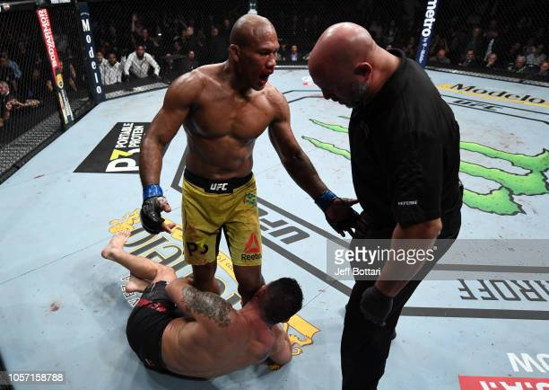 Ronaldo Souza of Brazil pleads with referee Dan Miragliotta to stop the fight after dropping Chris Weidman with a punch in their middleweight bout...