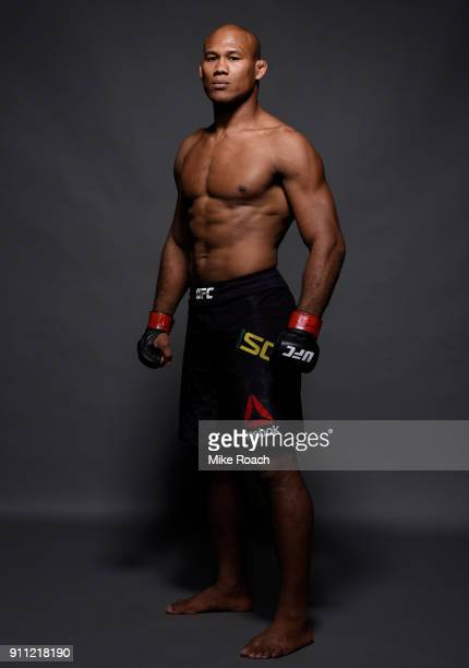 Ronaldo Souza of Brazil poses for a post fight portrait backstage during a UFC Fight Night event at Spectrum Center on January 27 2018 in Charlotte...