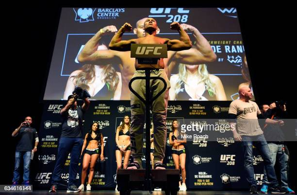 Ronaldo Souza of Brazil poses on the scale during the UFC 208 weighin inside Kings Theater on February 10 2017 in Brooklyn New York