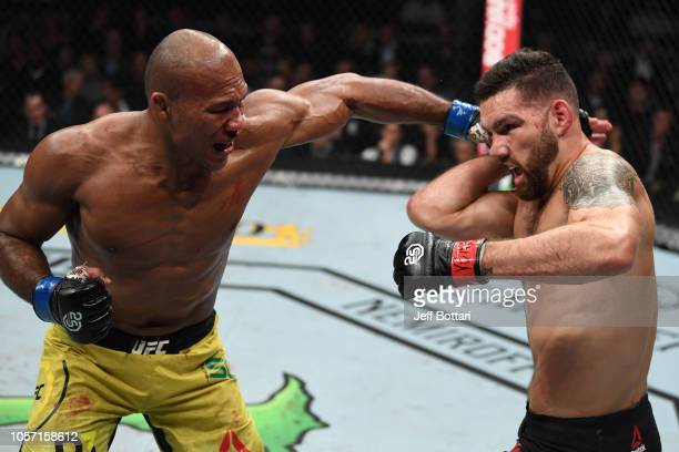 Ronaldo Souza of Brazil punches Chris Weidman in their middleweight bout during the UFC 230 event inside Madison Square Garden on November 3 2018 in...