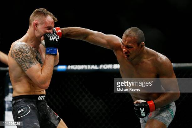 Ronaldo Souza of Brazil punches Jack Hermansson of Sweden during their middleweight bout at UFC Fight Night at BBT Center on April 27 2019 in Sunrise...